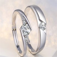 New Fashion 30% Silver White Gold Open Size Zircon Love Forever Crown Couple Rings Hommes Femmes Wedding Ring 20 Designs Mix