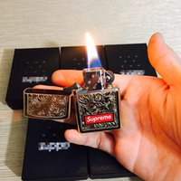 Wholesale Engrave Tools - ZIPPO Sup 14FW Engraved Brass box logo Carved lighters Gold lighter