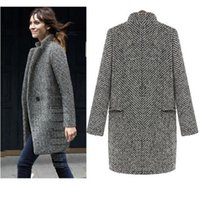 Wholesale Woman Trench Coat Free Pattern - Women's Trench Coat for women 2017 fashion Autumn Winter long wool blends over casacos femininos vintage striped free shipping