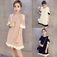 Wholesale Korean Wholesale Sexy Dresses - Wholesale- Plus Size Real 2016 Summer New Korean Version Was Thin Round Neck Short Sleeve Spell Color Dress Sexy Fashion Pregnant Pretty