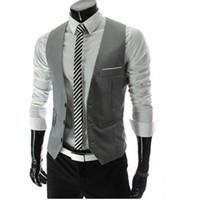 Wholesale Plus Size White Suite - Wholesale- Gilet Homme Men Casual Suite Vest Plus Size Sleeveless Gilet Grey Suit Vest Black White Veste Sans Manche Casual Suit Vest