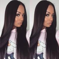 siyah ipek saç toptan satış-130% Yoğunluk Ipeksi Düz Ipek Üst Tam Dantel Peruk Perulu Dantel Ön İnsan Saç Peruk Siyah Kadınlar için FDSHINE