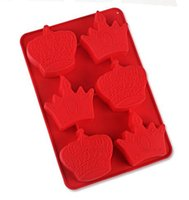 Wholesale Molds For Candy - Wholesale 6 holes crown silicone kitchen baking molds for handmade cake chocolate ice soap candy pudding bread bakeware suppies