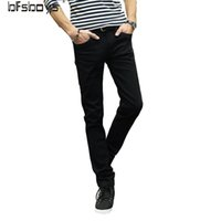 Wholesale New Candy Trouser Colors - Wholesale- Men Cotton Skinny Ripped jeans New Arrival Solid Candy Colors Spring Summer Autumn Slim Fit Denim Trousers Brand Fashion Jeans