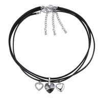 ingrosso gioielli neri di swarovski-nuovo arrivo 8 colori alla moda in pelle gioielli corda collana girocollo nero con elementi di cristallo Swarovski cuori migliore regalo