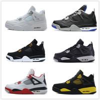 Wholesale Cat Army Green - retro 4 Basketball Shoes pure money motorsports Bred Oreo white cement Military blue black cat thunder men women Sports Shoes