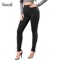 Wholesale Women Colored Summer Skinny Jeans - 2017 New Summer Sexy Woman Black Side Lace Up Jeans Mid Waist Hollow Out Button Zipper Pencil Skinny Women Jeans 17411