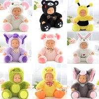 Wholesale Bee Plush Toy - Reborn Silicone Sleeping Baby Toy 6.6in. Sitting Plush Simulated Silicone Doll Animal Elephant Bee Frog Sleeping Soft Baby Comforting Toy