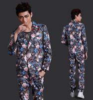 Wholesale Dresses Fashion Star Show - (Jacket+pants)two piece suit male costume spring cutumn men slim fashion suit show singer dancer star stage dress bra nightclub performance