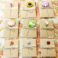 Wholesale Mothers Greeting Cards - Mothers Day gift cards DIY Envelope card birthday Lovers congratulation greeting cards Kraft paper dried flower Hand-made DHL
