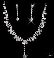 Wholesale Free Heart Necklace - 2017 New Jewelry Necklace Earring Set Cheap Wedding Bridal Prom Cocktail Evening Dresses Rhinestone 15-051 In Stock Free Shipping