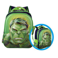 Wholesale Men Women Children Book - New Design Green Hulk Schoolbag For Boys 3D Pattern Backpacks Kindergarten Lighten Ben 10 Book Bags Child Cartoon Mochila