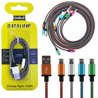 Wholesale Charger For Lenovo - Micro USB Cable Braided Copper Charger Sync Data usb Cables Cord for samsung Xiaomi Sony lenovo smartphone with retail package