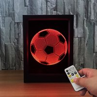 3D Football LED Photo Frame IR Remote 7 RGB Lights AAA Battery ou DC 5V Factory Wholesale Dropship Frete Grátis