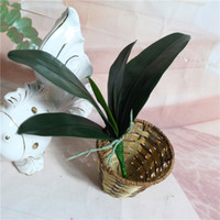 Wholesale Glue Pots Wholesale - High Quality Artificial Flower Orchid Lleaves PU gluing texture leaves DIY potted flower arrangements