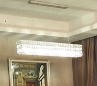 Modern RH Crystal Chandelier Rectangle design Salon Européen LED Crystal pendentif lampes Restaurant Villa Éclairage Fixations LLFA