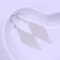 Wholesale Mesh Dangle - Fashion Korean version of silver jewelry fine silver - plated rhombic mesh earrings earrings linked to wedding wedding supplies