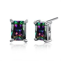 Wholesale Rainbow Silver Crystal Earrings - RAVIMOUR Square Rainbow Crystal Earrings for Women Korean Silver Color Jewelry Maxi Zircon Stud Earing Vintage Drop Shipping