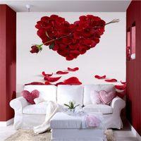 rosas de papel de parede para quarto venda por atacado-Venda por atacado - personalizado foto papel de parede 3D estéreo grandes murais Cupido Espada Rose Art sala de estar sofá quarto flash de prata pano mural papel de parede