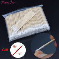 Wholesale Pointed Nail Tips - Wholesale- 300PCS Short Wood Handle Small Pointed Tip Head Cotton Swab Eyebrow Tattoo Beauty Makeup Color Nail Seam Dedicated Dirty Picking