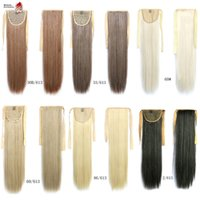 Atacado 2016 Hot Style Blonde 14Colors 1pcs 60cm Long Straight Ponytail 90g Fake Hair Styling Clip Straight Ponytails Pony Tails