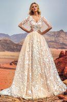 Wholesale Embellishments Wedding Dresses - full embellishment half angel sleeves Arab Dubai wedding dresses 2018 oksana mukha bridal a-line v neck covered lace back royal train