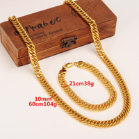 Mens Miami Cuban Curb Chain Real 24k Solid Gold GF Hip Hop 10MM Dicke Halskette Armband Schmuck Sets