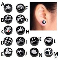 Wholesale Skull Earrings For Men - Black magnet stud no hole round stud for men and women acrylic earrings five-pointed skull and spiderman apple stud