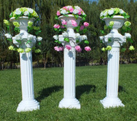 Wholesale White Vase Sets - New Arrival Fashion White Roman Column Wedding Centerpiece Road Lead with the Vase and Bouquet Sets for Party Event Decoration Props