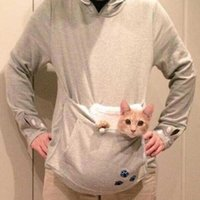 Wholesale Hoodies Cat Ears - Wholesale- Japanese Big Pocket Grey Cat Dog Pet Casual Hoodie Sweatshirts Hoodie With Ears Neko Atsume Clothes Big Size 4XL