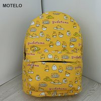 Wholesale Egg Backpack - Wholesale- Lovely Gudetama Lazy Egg Printed Canvas Backpack Egg Yolk Brother Cartoon School Bags B H