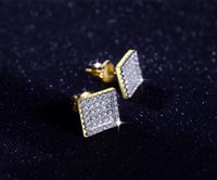square diamond earrings for men - 2017 New fashion hip hop square earring Pave AAA CZ Diamond Simple For Men Woman