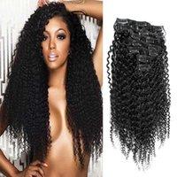 doğal renk brezilya kıvırcık saç toptan satış-Doğal renk işlenmemiş brezilyalı sapıkça Kıvırcık saç 100g uzantıları Doğal Renk 7 adet afro kinky klip