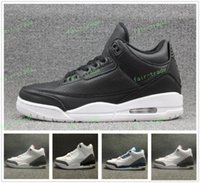 Wholesale Wrestling Shoes Mens Size 13 - Cyber Monday Retro 3 Mens Basketball Shoes Sneaker True Blue white Black cement Outdoor Trainer Leather Black White 3s III Sports Size 8-13