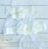 Wholesale Baby Knitted Set White - Floral Sash with pearl Matching Baby Headbands Poppy Belt With Flowers Sash Set Queenbaby Sash Set