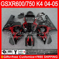 Wholesale Suzuki K4 - 8 Gifts 23 Colors Body For SUZUKI GSX-R600 GSXR750 GSXR600 04 05 9HM80 GSX R600 R750 K4 GSX-R750 GSXR red flames 600 750 2004 2005 Fairing