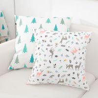 "Wholesale Blue Pillow Covers 18 - 1Pcs Decorative Cute Printed Pillow Case Cotton Linen Cushion Cover 18"" x 18"" for Back Cushion Lumbar Pillow Accept Customiz"