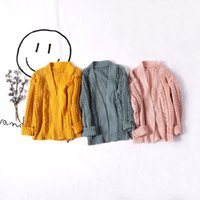 Wholesale Childrens Sweater Jackets - 2017 Wholesale spring fashion new girls cotton knitted hollow sweater childrens coats