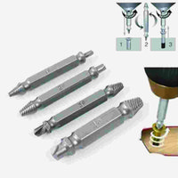 Wholesale 4PCS Set Double Side Damaged Screw Extractor Drill Bits Out Remover Bolt Stud Tool Set not include box IC674595