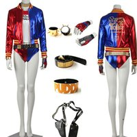 Wholesale Clown Clothes - Classic Joker Suicide Squad Deluxe Harley Quinn Costume Cosplay Clothes Wig Accessories for Women Girl Adult children