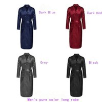 Wholesale Thin Bathrobes - Men Plain Silk Rayon Kimono Bathrobe Solid Color Thin Male Long Robe Night Gown Sleepwear 4 Colors 100pcs OOA1908