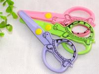 Wholesale Kids Craft Scissors - 60pcs Lot Plastic safety scissors kids' DIY handwork crafts scissor School stationery supplies Mixed color DL_CR002