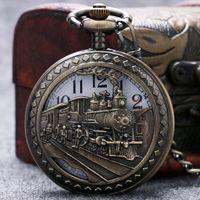 Wholesale Locomotive Clock - Wholesale-Retro Vintage Hollow locomotive Railway Engine Black Pendant Chain Clock Pocket Watch Hollow Out Pocket Watch Gifts