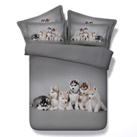 Double Doré Rose 3d Pas Cher-4 Styles Pink Dog Husky Ensembles de literie imprimés 3D Twin Full Queen King Size Literie Housse de couette Housse d'oreiller Consolateur Cat Animal Design pour animaux de compagnie