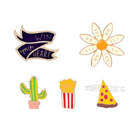 Wholesale Celtic Clothing Women - Colorful Enamel Brooches Set Flower Pizza Chips Cactus Pins Lapel Badge Hat Collar Pins Clothing Accessories Women