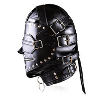 Wholesale sex toys masks - Black patch design Leather Headgear Adult Masks with zipper padlock SM Bondage sex toys hot sell