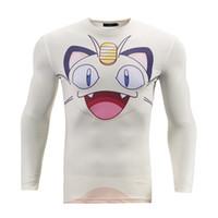 camisetas blancas apretadas al por mayor-Camisetas de compresión para hombre 3D Base blanca de dibujos animados impresa de manga larga camiseta Fitness masculino Crossfit Tight Skin Marca Tee BL-050