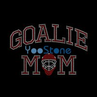 Venta caliente Popular Portero Mamá Rhinestone Transfer Iron en Goalie Hermana Hot Fix Applique