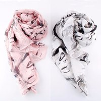 Wholesale Head Scarf Shawl - Wholesale- New Women Sexy Chiffon Silk Scarf Lip Pretty Marilyn Monroe Head Print Shawl Wraps Shades Scarves S4