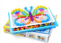 Wholesale Toy Mushrooms Kids - Baby Toys Creative Colorful Mosaic Mushroom Nail Ding Children Learning Toy Insert Beads Puzzle Educational Toys For Kids YH703